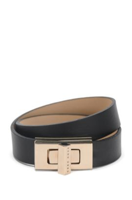 BOSS Bespoke leather bracelet with signature cufflink closure , Black