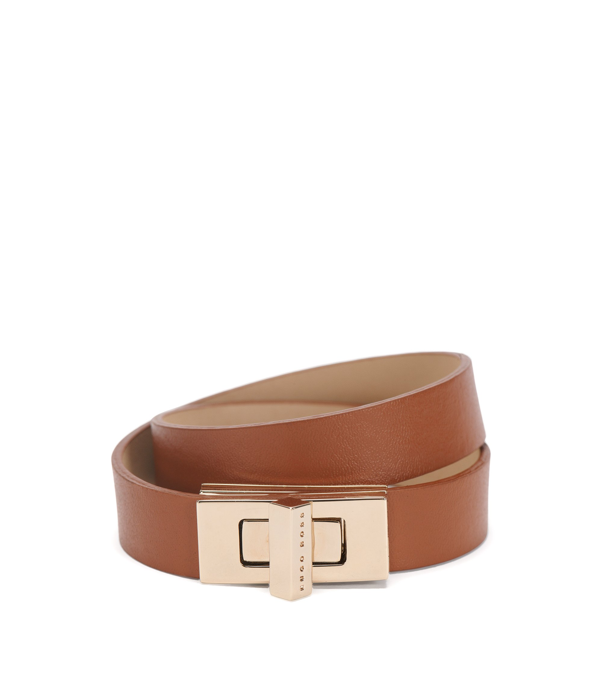 BOSS Bespoke leather bracelet with signature cufflink closure , Brown