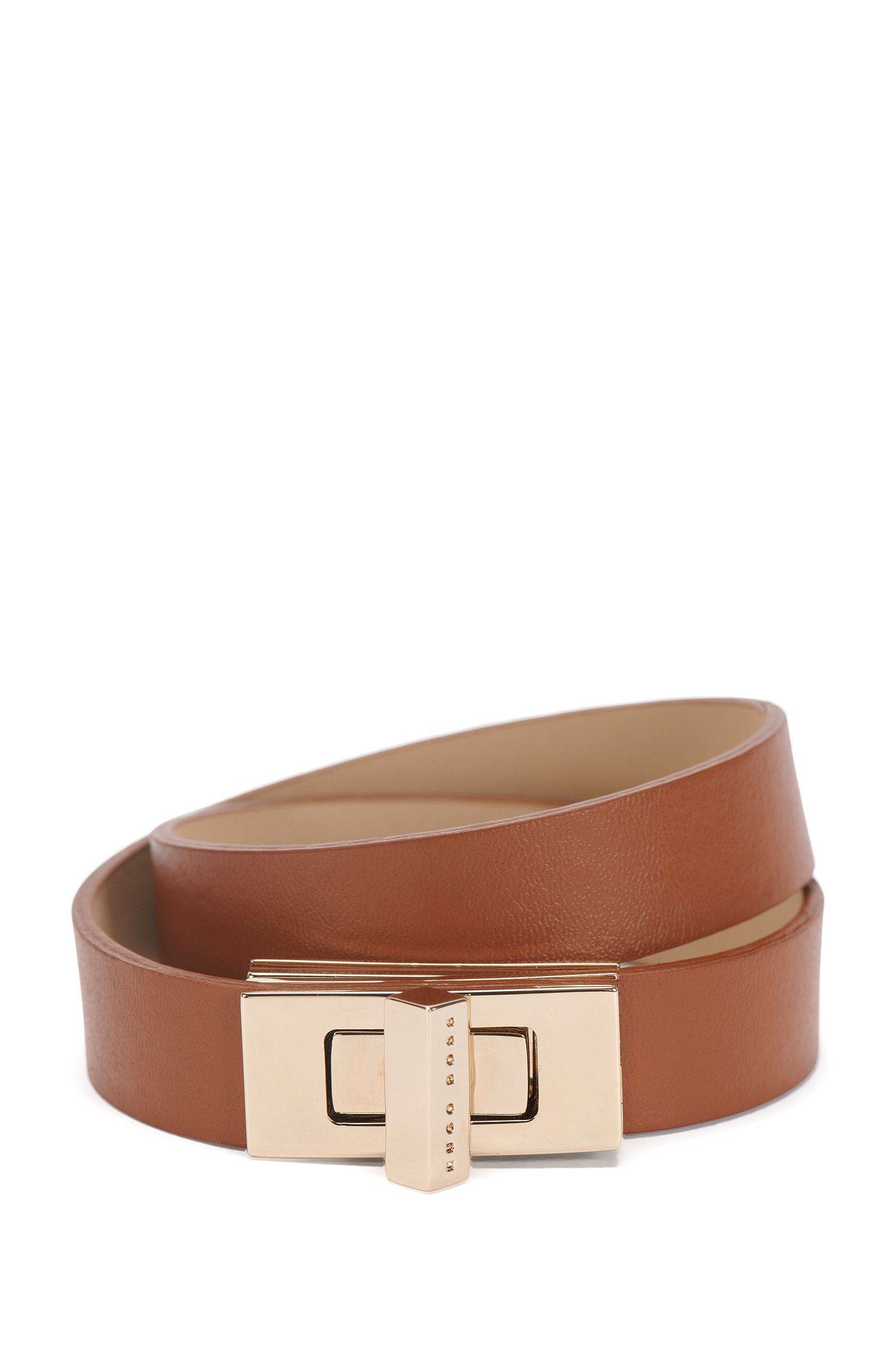 BOSS Bespoke leather bracelet with signature cufflink closure , Brown