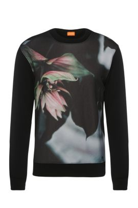 Regular-fit printed sweater in cotton blend: 'Whit', Black
