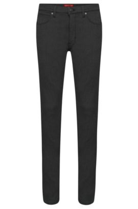 Skinny-fit jeans in cotton blend with wash: 'HUGO 734', Black