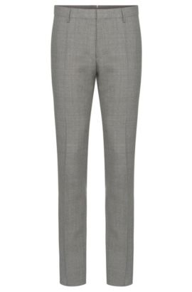 Mottled slim-fit Tailored trousers in new wool with silk: 'T-Gavril', Grey