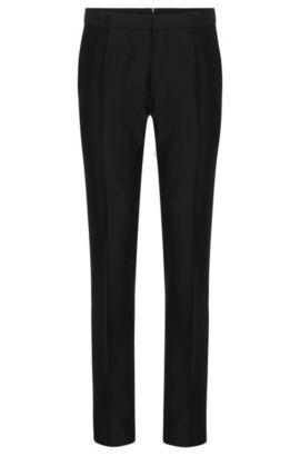 Pantalón Tailored slim fit en mezcla de lana virgen con seda y mohair: 'T-Gavril', Negro