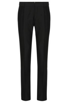 Pantaloni Tailored slim fit in misto lana vergine con seta e mohair: 'T-Gavril', Nero