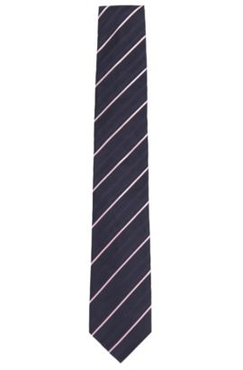 Patterned silk tie: 'Tie 7.5 cm', Dark Blue