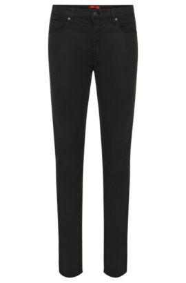 Skinny-fit jeans in a stretchy fabric blend with cotton: 'HUGO 734', Black