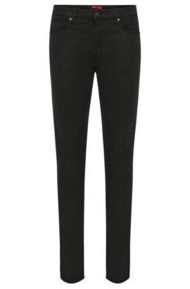 Skinny-Fit Jeans aus elastischem Material-Mix mit Baumwolle: 'HUGO 734', Schwarz