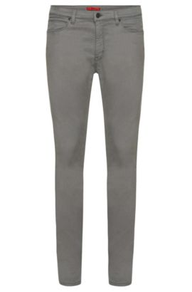 Skinny-fit jeans in a stretchy fabric blend with cotton: 'HUGO 734', Grey