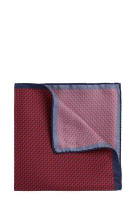 Pochette da taschino a disegni in seta: 'Pocketsquare 33x33cm', Rosso