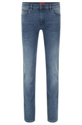 Jeans slim fit in misto cotone elasticizzato con trattamento effetto usato: 'HUGO 708', Turchese