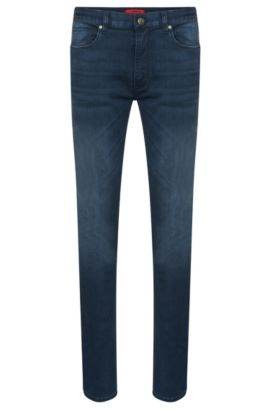 Skinny-fit jeans in cotton blend with used wash: 'HUGO 734', Dark Blue