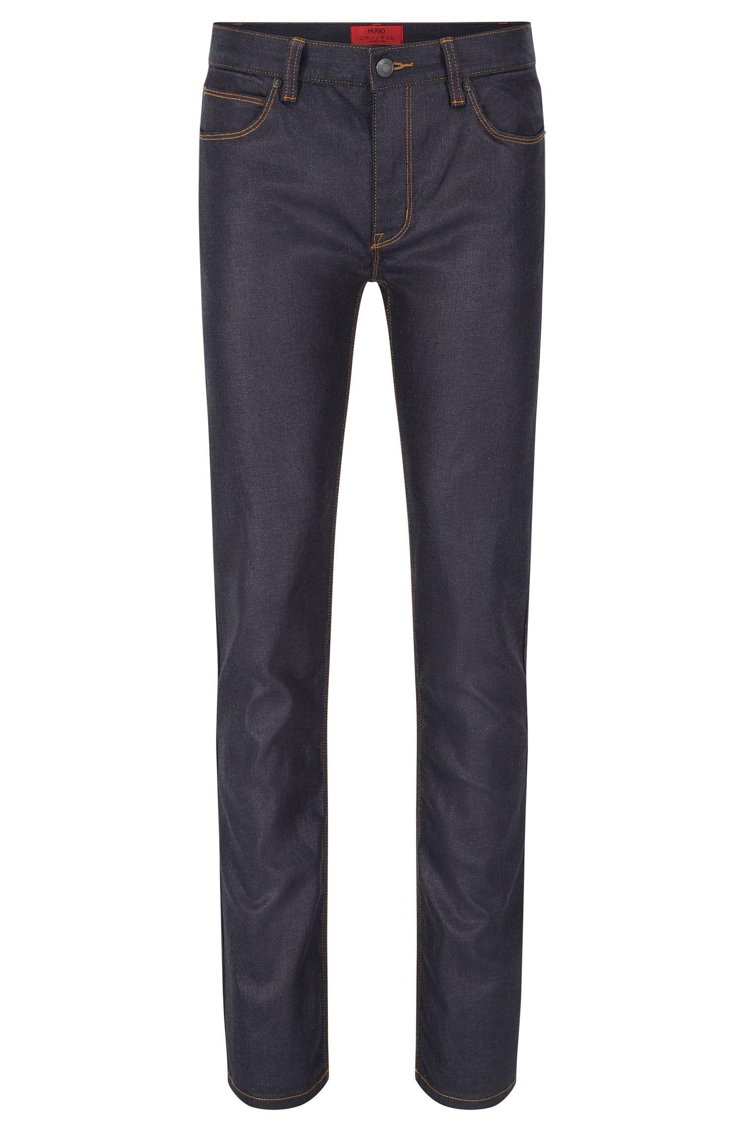 Jeans Slim Fit en coton mélangé à la finition rinsed: «HUGO708»
