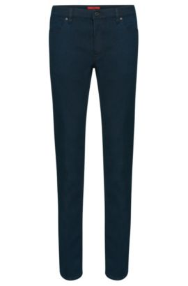 Jeans slim fit in misto cotone elasticizzato in tinta unita: 'HUGO 708', Blu scuro