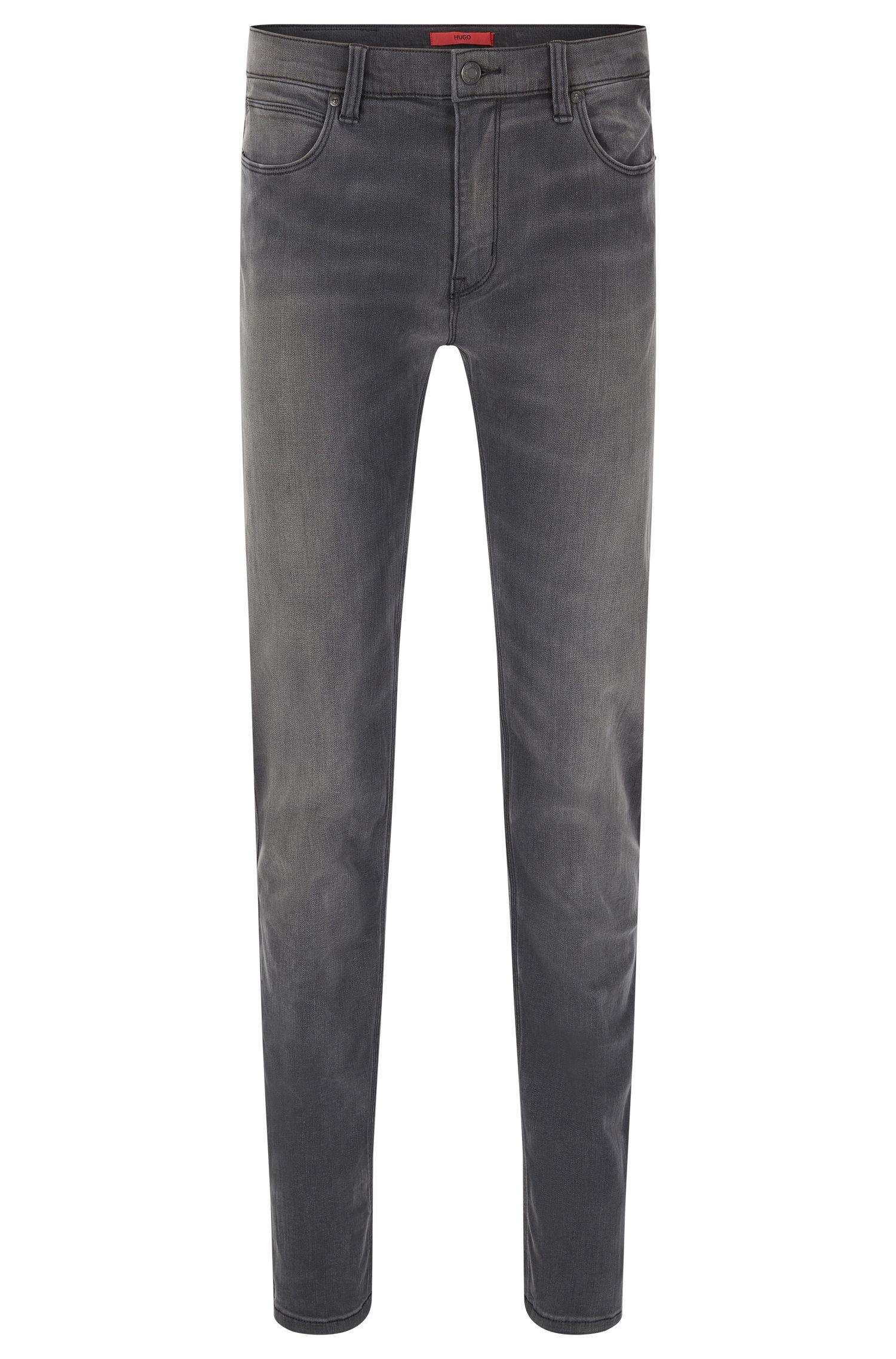 Slim-Fit Jeans aus Stretch-Baumwolle mit Used-Waschung: 'HUGO 708'