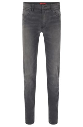 Jeans Slim Fit en coton stretch au délavage à effet usé : « HUGO 708 », Anthracite