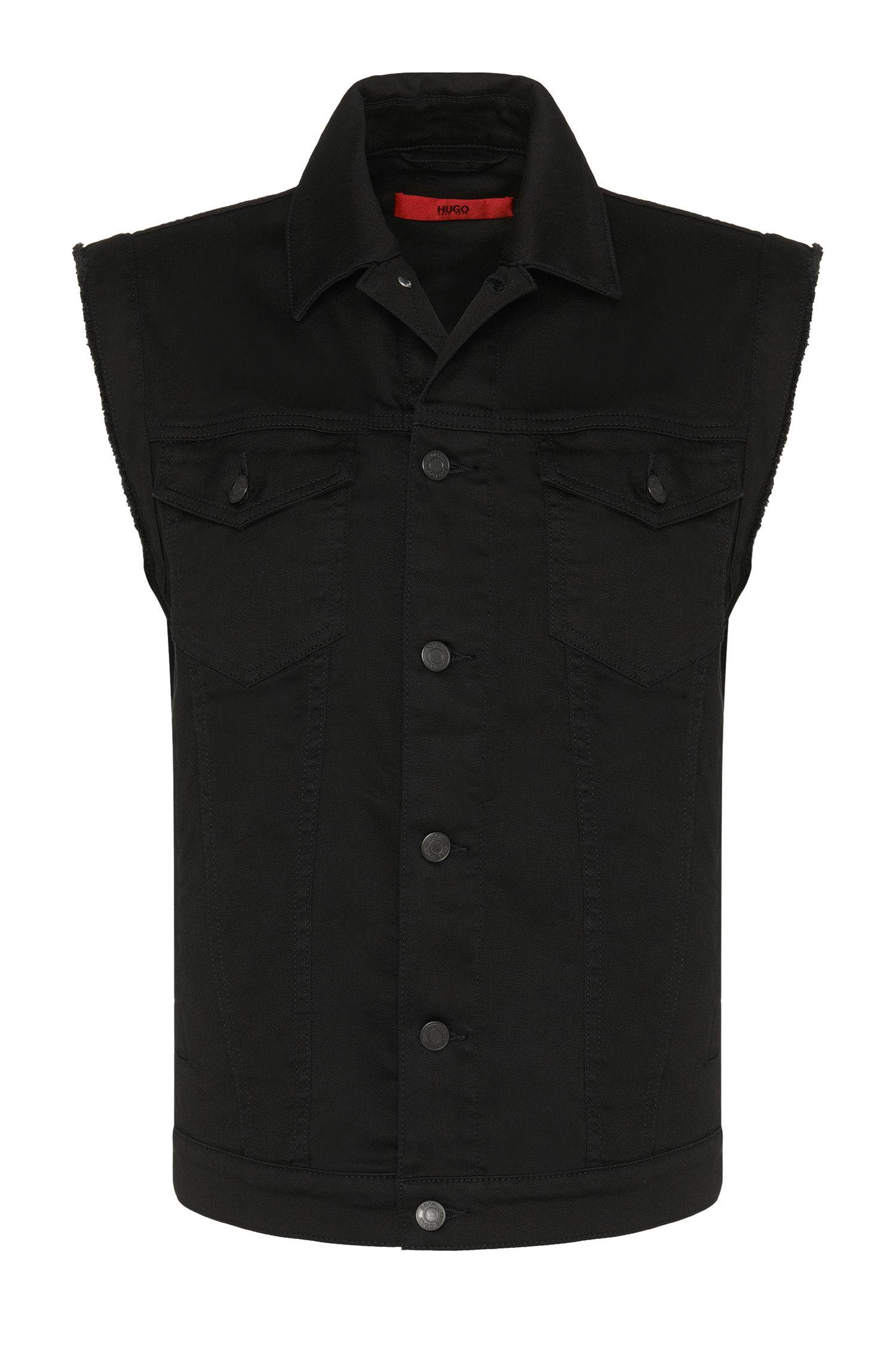 Veste en jean Slim Fit en coton extensible avec empiècement orné de rivets: «Hugo062»