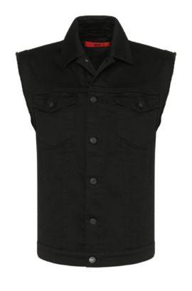 Veste en jean Slim Fit en coton extensible avec empiècement orné de rivets: «Hugo062», Noir