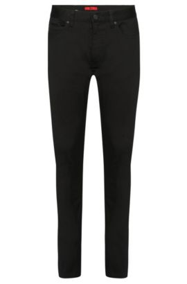 Skinny-fit jeans in stretch cotton with leather-effect details: 'Hugo 734/35', Black