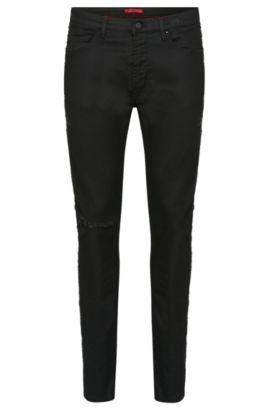 Skinny-fit jeans in cotton blend with stud detailing: 'Hugo 734/34', Black