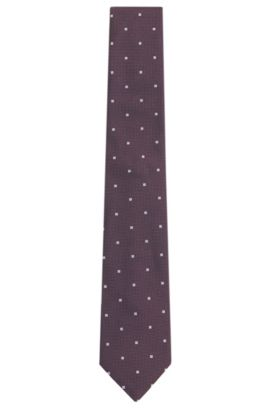 Cravate en soie avec motif carré: «Tie7,5cm», Violet foncé