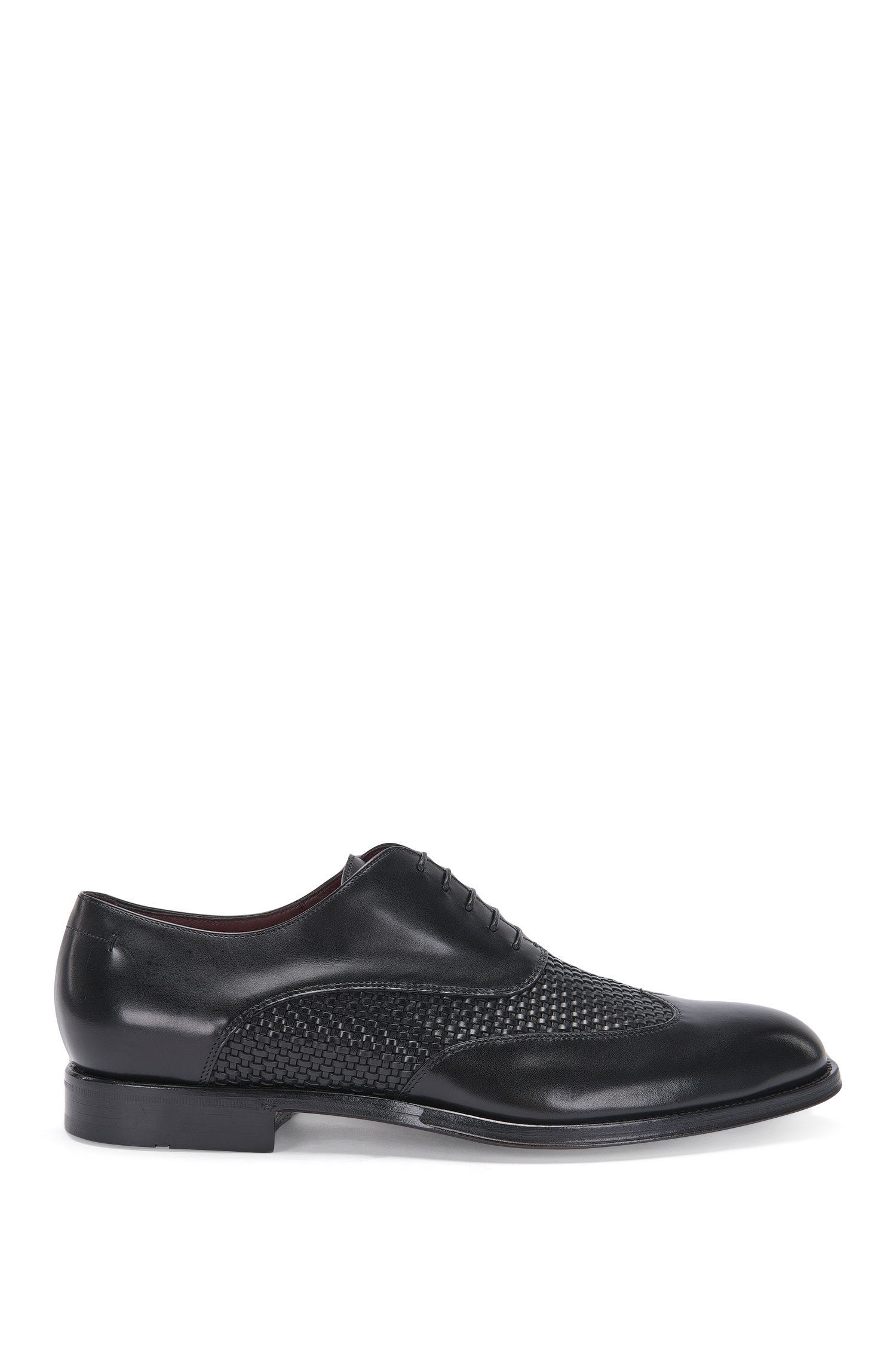 Tailored leather lace-up shoes with a braided texture: 'T-Idol_Oxfr_wowt'