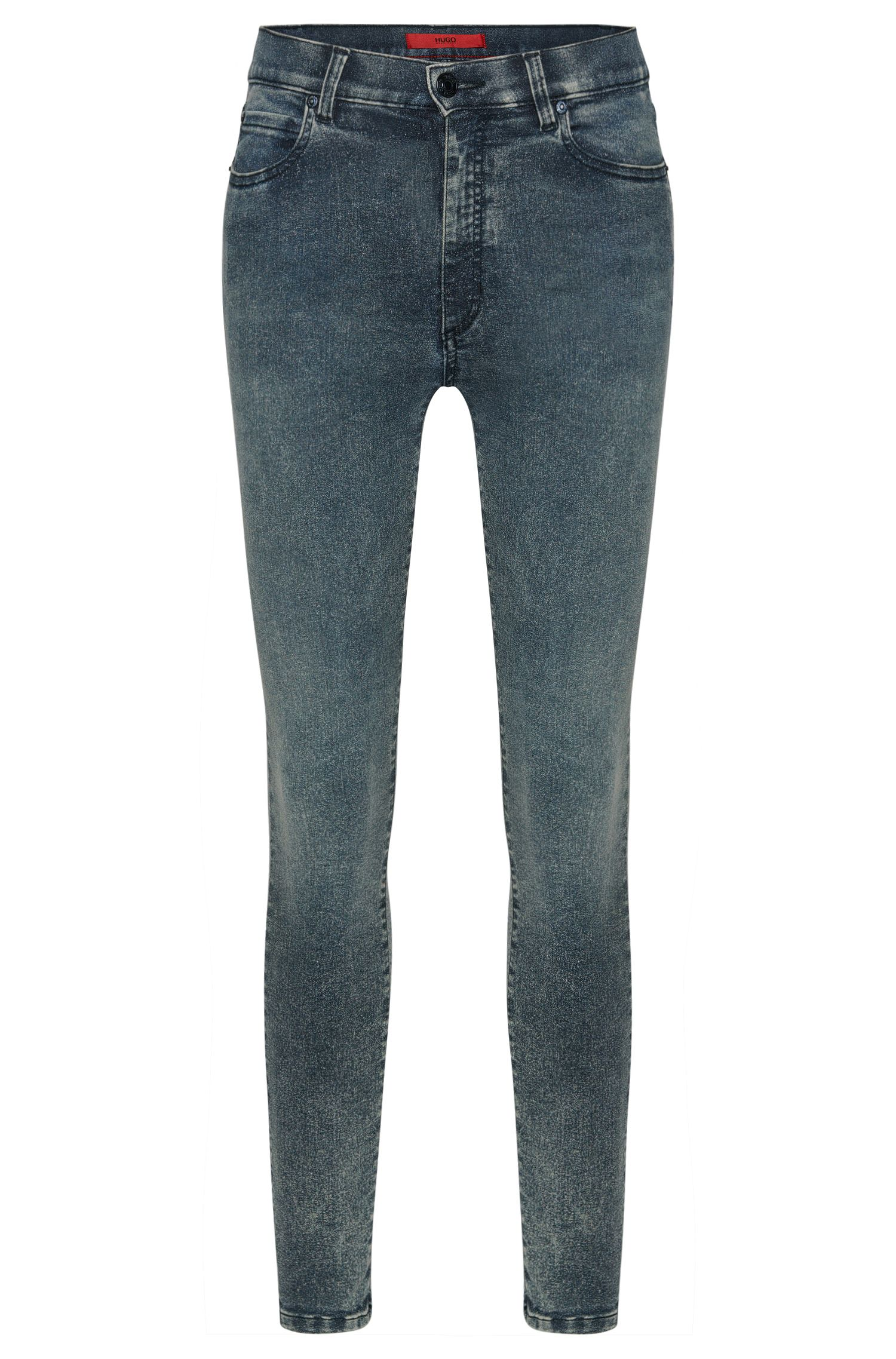 High waist-fit jeans van een katoenmix met acid-wassing: 'Gerna Highwaist Skinny Leg'