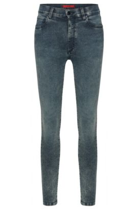 High-waist jeans in cotton blend with acid wash: 'Gerna Highwaist Skinny Leg', Blue
