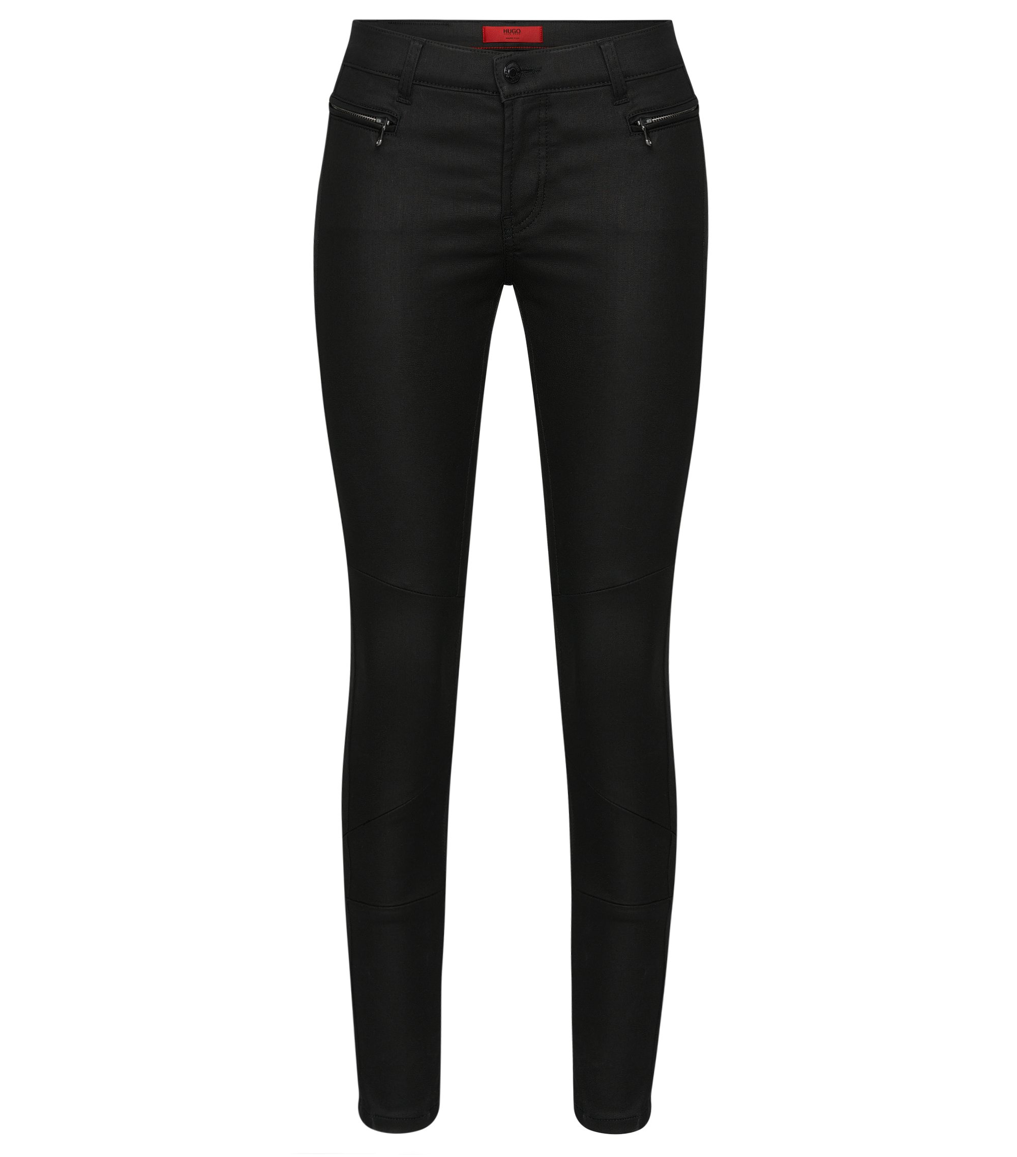 Skinny-fit jeans made from cotton blend in biker style: 'Gilljana/10', Black
