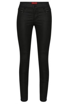 Skinny-Fit Jeans aus Baumwoll-Mix im Biker-Stil: 'Gilljana/10', Schwarz