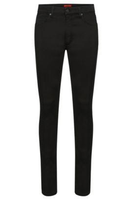 Jeans Skinny Fit uni en coton extensible mélangé: «HUGO734», Noir