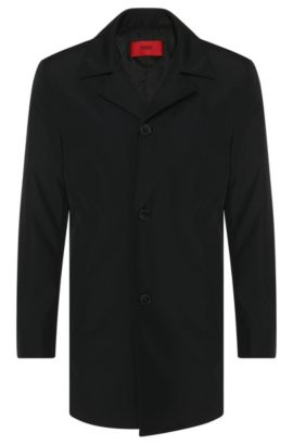 Abrigo regular fit en tejido repelente al agua: 'C-Dais6', Negro