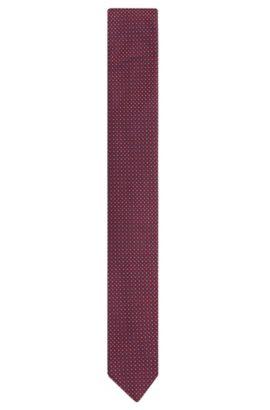 Fein gemusterte Krawatte aus Seide: 'Tie 6 cm', Dunkelrot