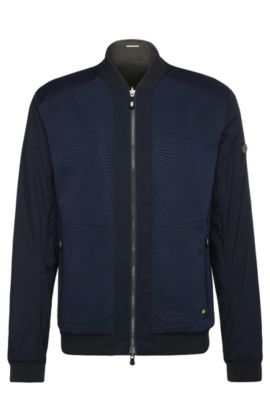 Reversible bomber jacket in stretchy material blend: 'Jarsey', Dark Blue
