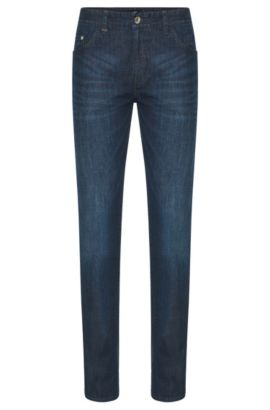 Slim-fit jeans in stretch cotton: 'Delaware3-1', Dark Blue