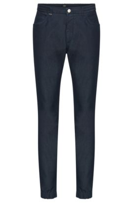 Tapered-fit jeans in cotton blend with elasticated cuffs: 'Orleans', Dark Blue
