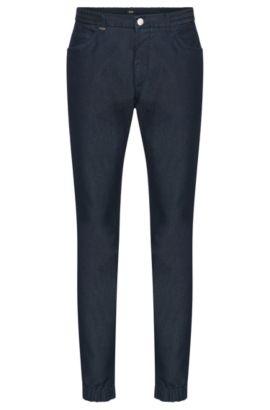 Jeans Tapered Fit en coton mélangé doté de bordures élastiques: «Orleans», Bleu foncé