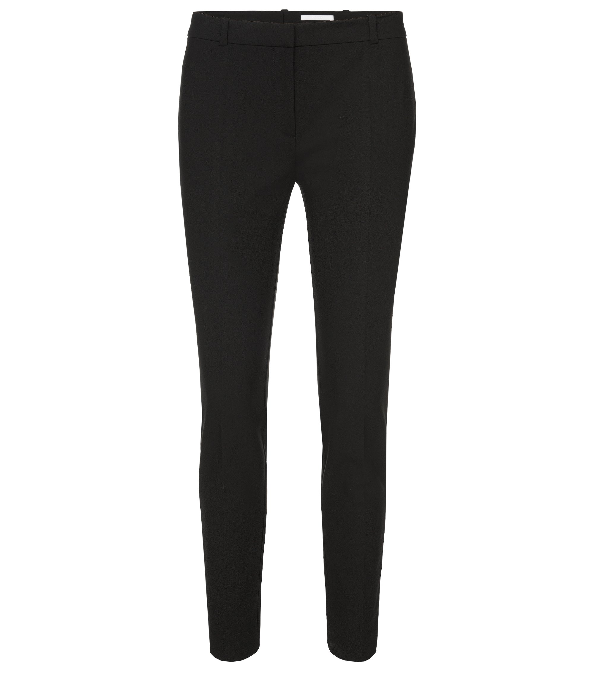 Pantalon Regular Fit en coton stretch mélangé, Noir