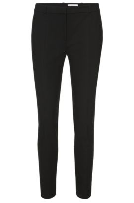 Regular-fit trousers in stretch cotton-blend, Black