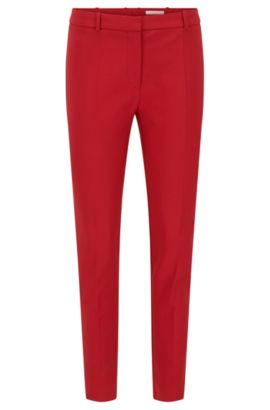 Regular-fit trousers in stretch cotton-blend, Red