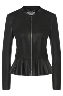 Leather jacket with peplum: 'Safisse', Black