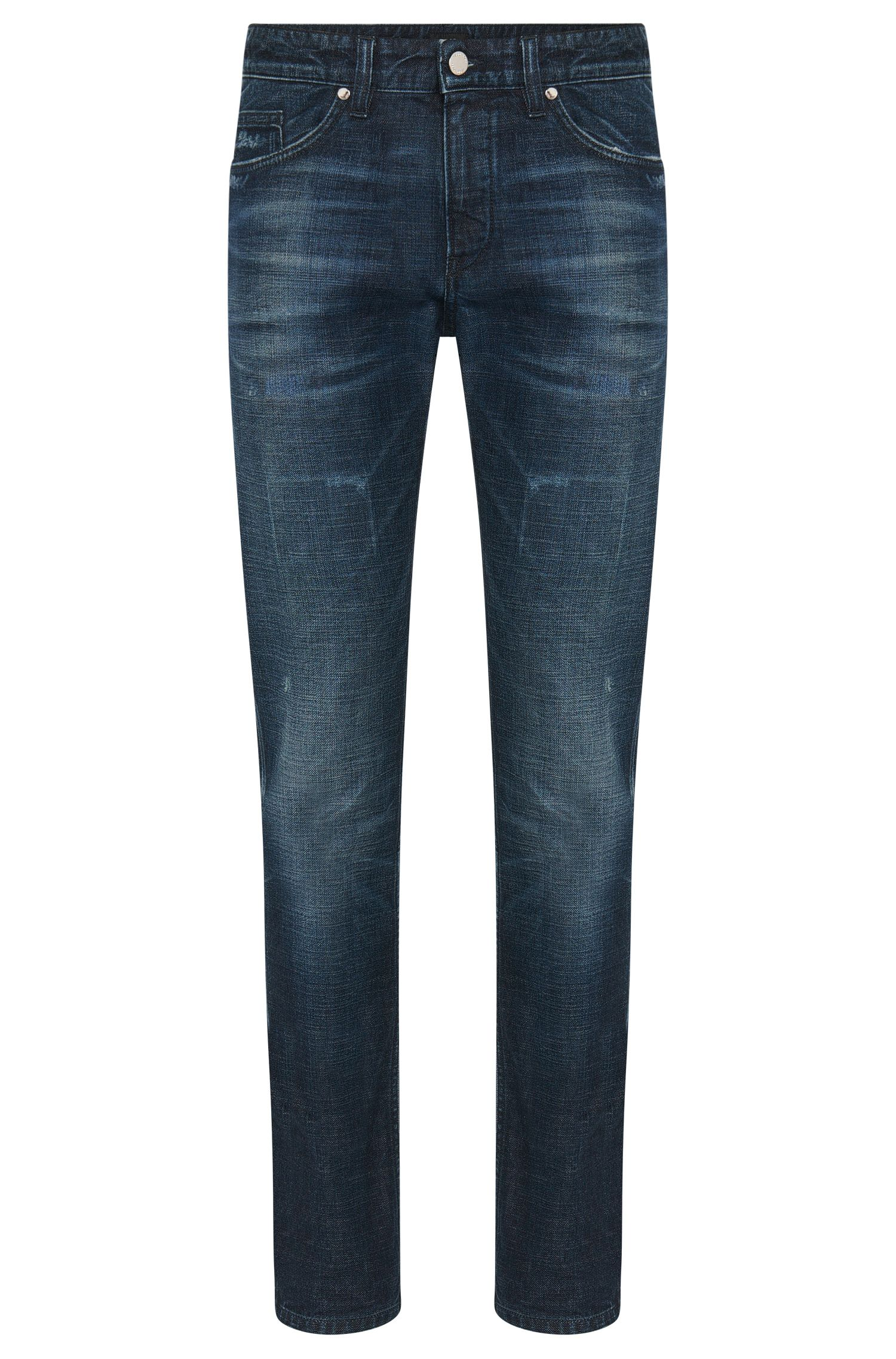 Slim-fit jeans in stretch cotton with a used wash: 'Delaware3'