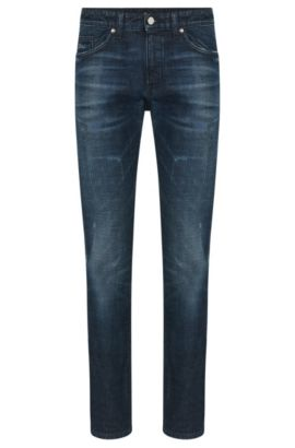 Slim-fit jeans in stretch cotton with a used wash: 'Delaware3', Blue