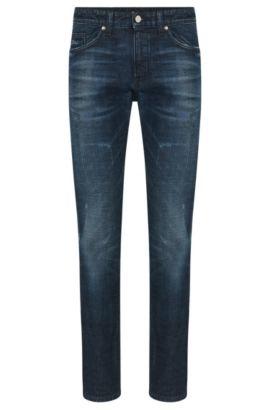 Slim-fit jeans van stretchkatoen met used-wassing: 'Delaware3', Blauw