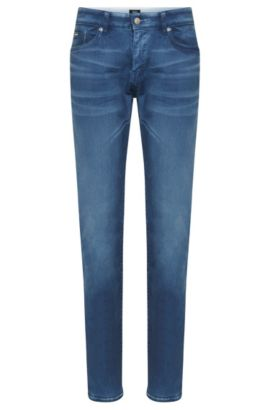 Slim-fit jeans in stretch cotton: 'Delaware3-1', Blue