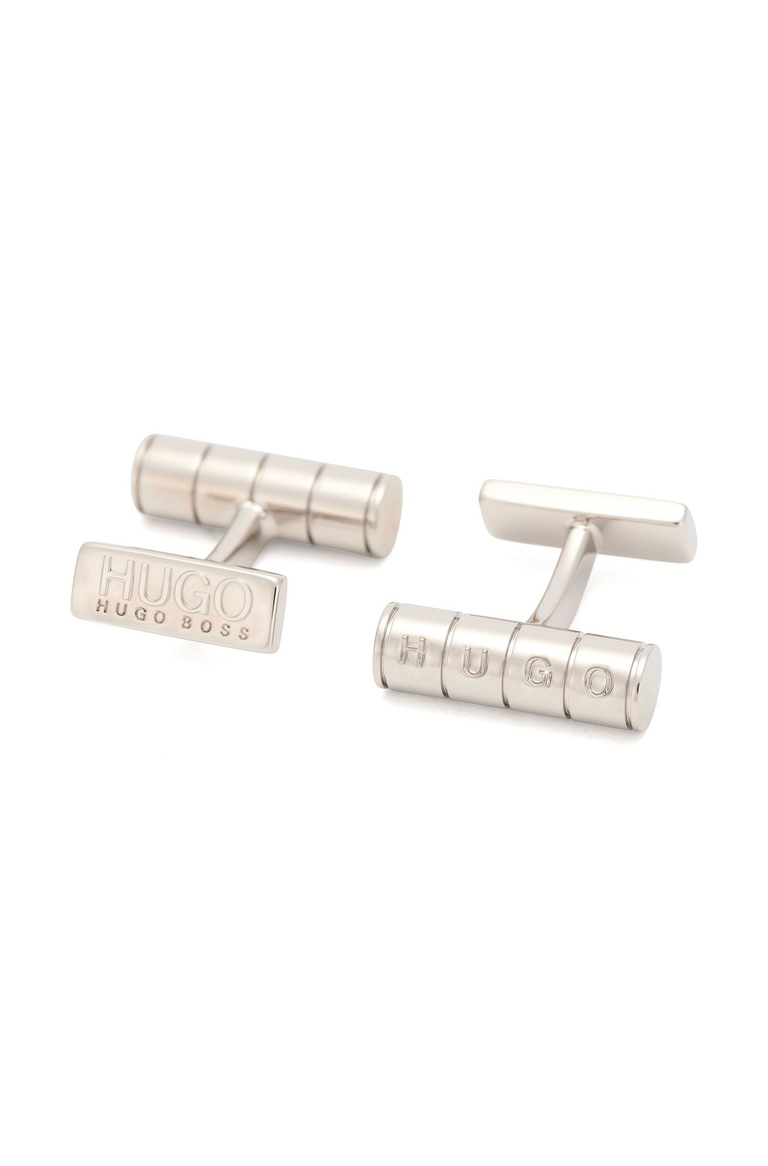 Brass cufflinks with logo lettering: 'E-SLOT'