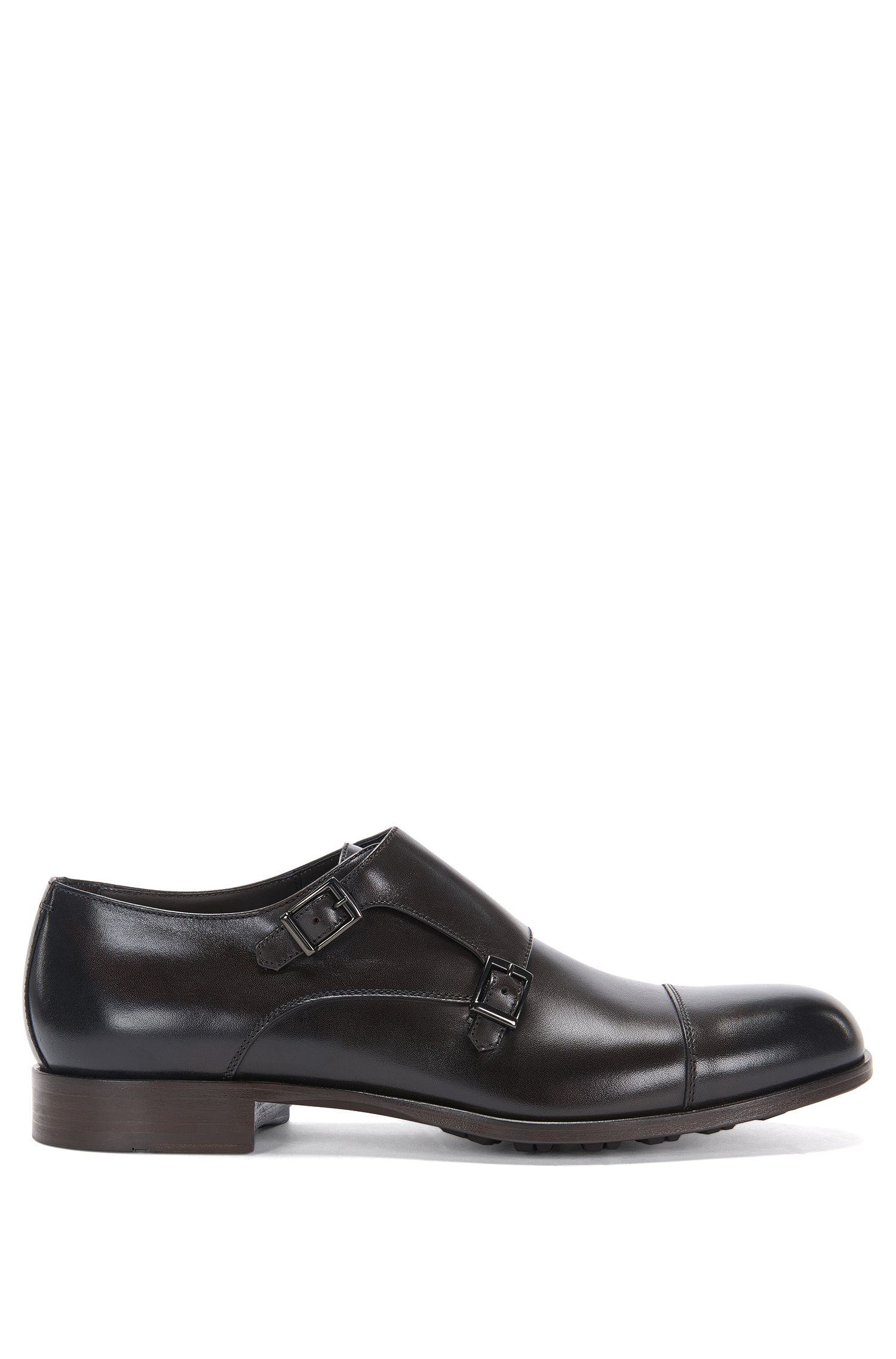 Leather double monk shoes with profiled outer sole: 'Monumental_Monk_ct'