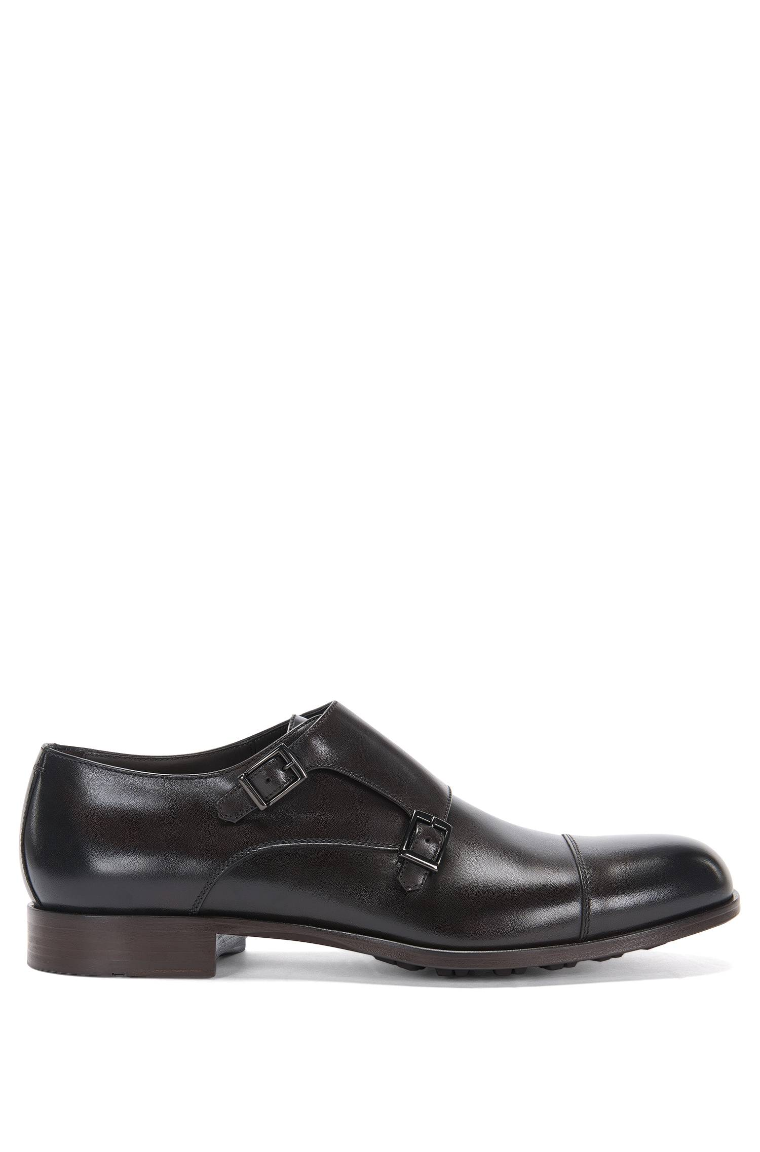 Leather double monk shoes with profiled outer sole `Monumental_Monk_ct`