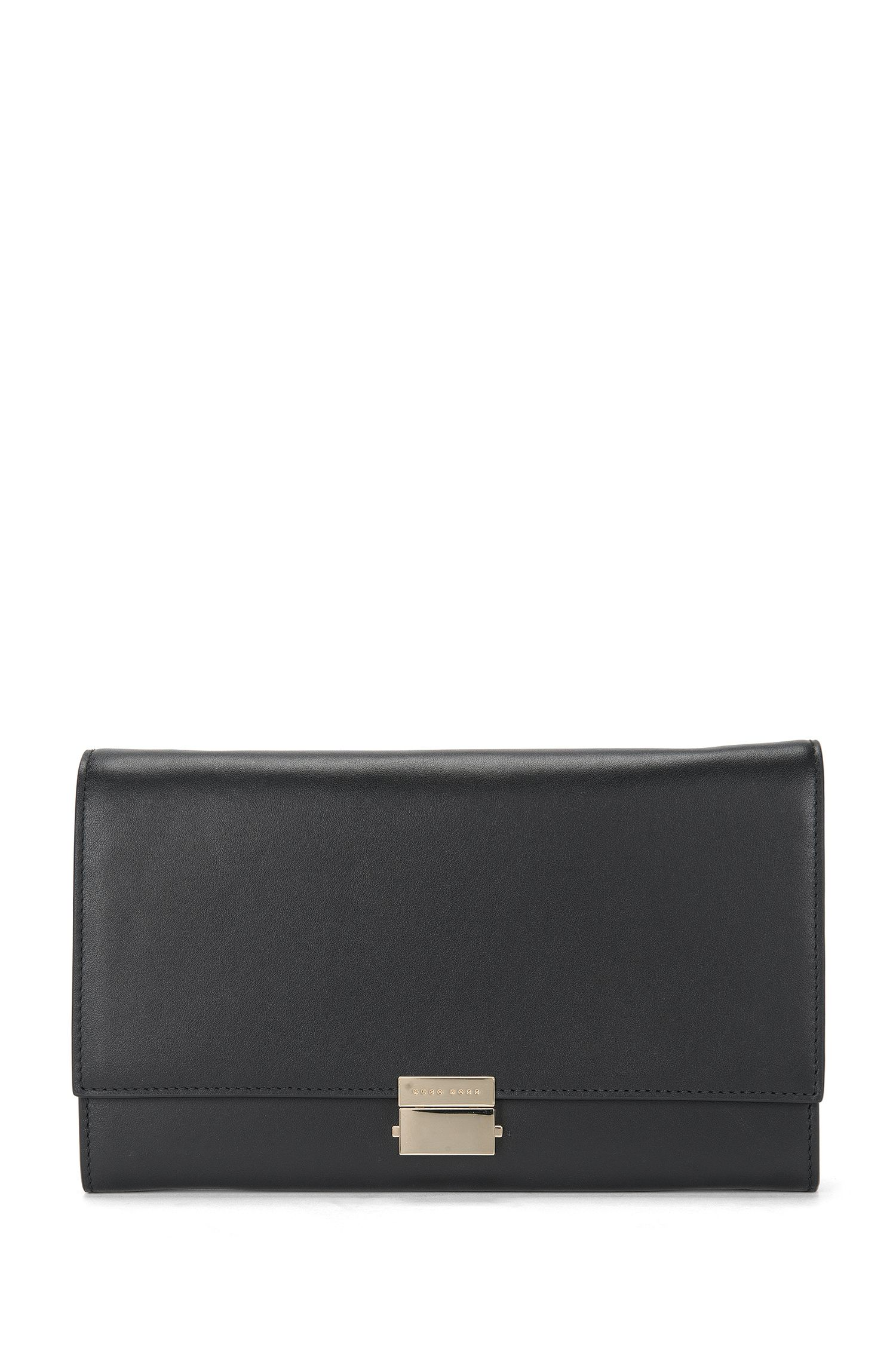 Effen clutch van leer met metaalketting: 'Munich Mini-M'