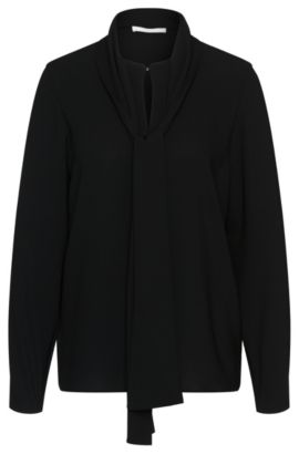 Blouse with bow collar: 'Beryna1', Black