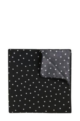 Pochet van zijde met dessin: 'Pocketsquare 33x33cm', Zwart